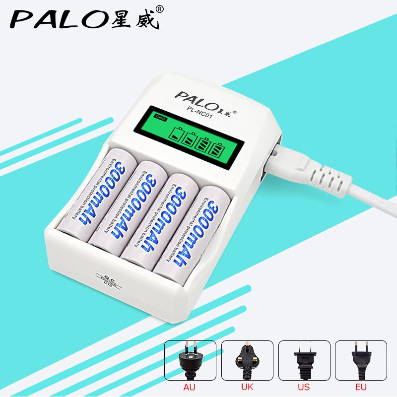 Chargeur de batterie Intelligent Intelligent PALO 4 fentes Charge rapide pour 1.2V AA/AAA NiCd NiMh batterie Rechargeable affichage LCD