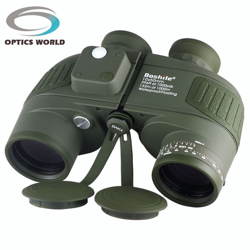 Tactical Military Boshile 10x50 Navy Binoculars With Rangefinder and Compass Reticle Illuminant Telescope Waterproof green color
