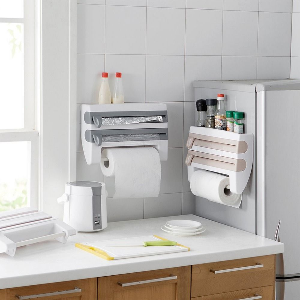 2017 Multifunctional Home Kitchen Film Sauce Bottle Storage Rack Paper Dispenser Preservative Film Rack Kitchen Accessory