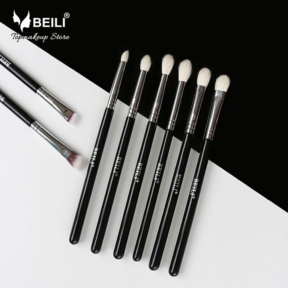 BEILI 8 pièces classique noir Pro outil chèvre cheveux synthétiques ombre à paupières sourcils mélange smoky maquillage brosse ensemble