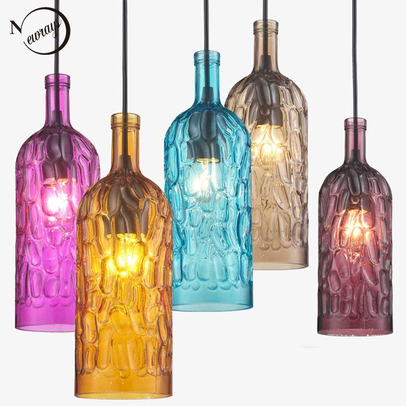 Loft moderne bunte winebottle Glas Anhänger Lichter schnur E27 LED lampe AC 110 v 220 v für Küche Restaurant Wohnzimmer zimmer Cafe Bar