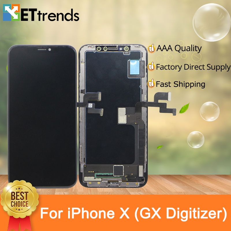1pcs Quality AAA GX AM-OLED Digitizer For iPhone X LCD Display Touch Glass Screen Digitizer Assembly DHL Free Shipping