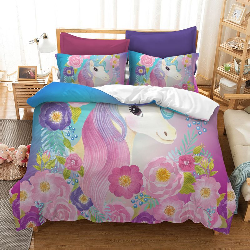 Fanaijia unicorn Bedding Sets king size Cartoon 3d Printed Duvet Cover Bed kids bedline AU US size bed dropshipping