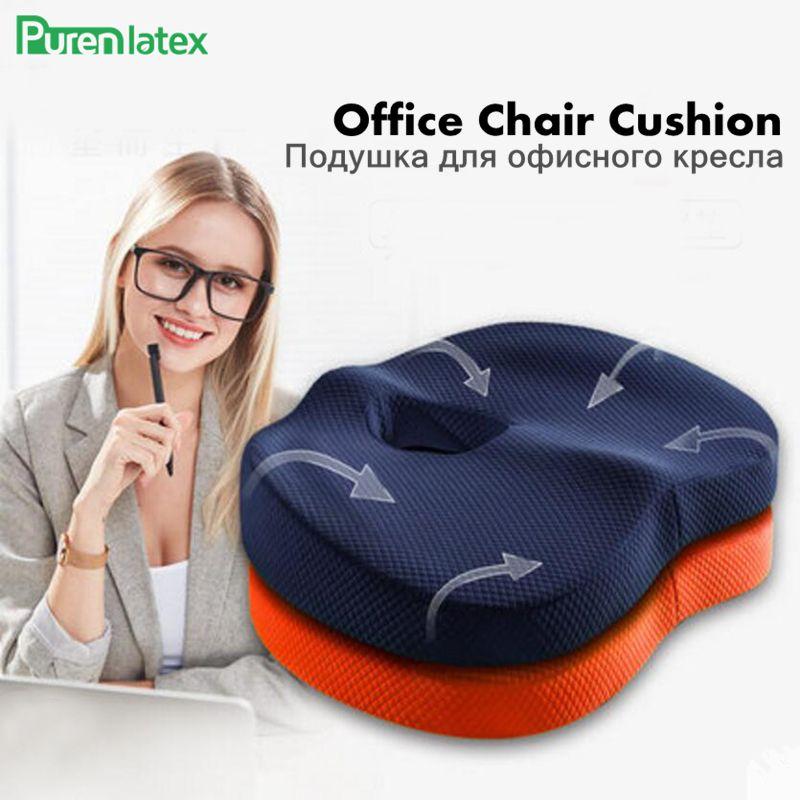 PurenLatex 45*35*7 Memory Foam Bamboo Charcoal Office Chair Seat Cushion Pad Hip Mat Cushion for Coccyx Comfort Hemorrhoid Treat