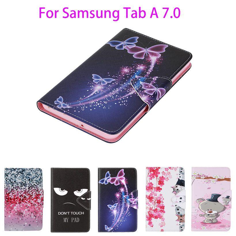 2016 Tab a6 7.0 étui pour samsung Galaxy Tab A 7.0 T280 T285 SM-T280 SM-T285 étui couverture tablette mode peint Flip Funda Shell