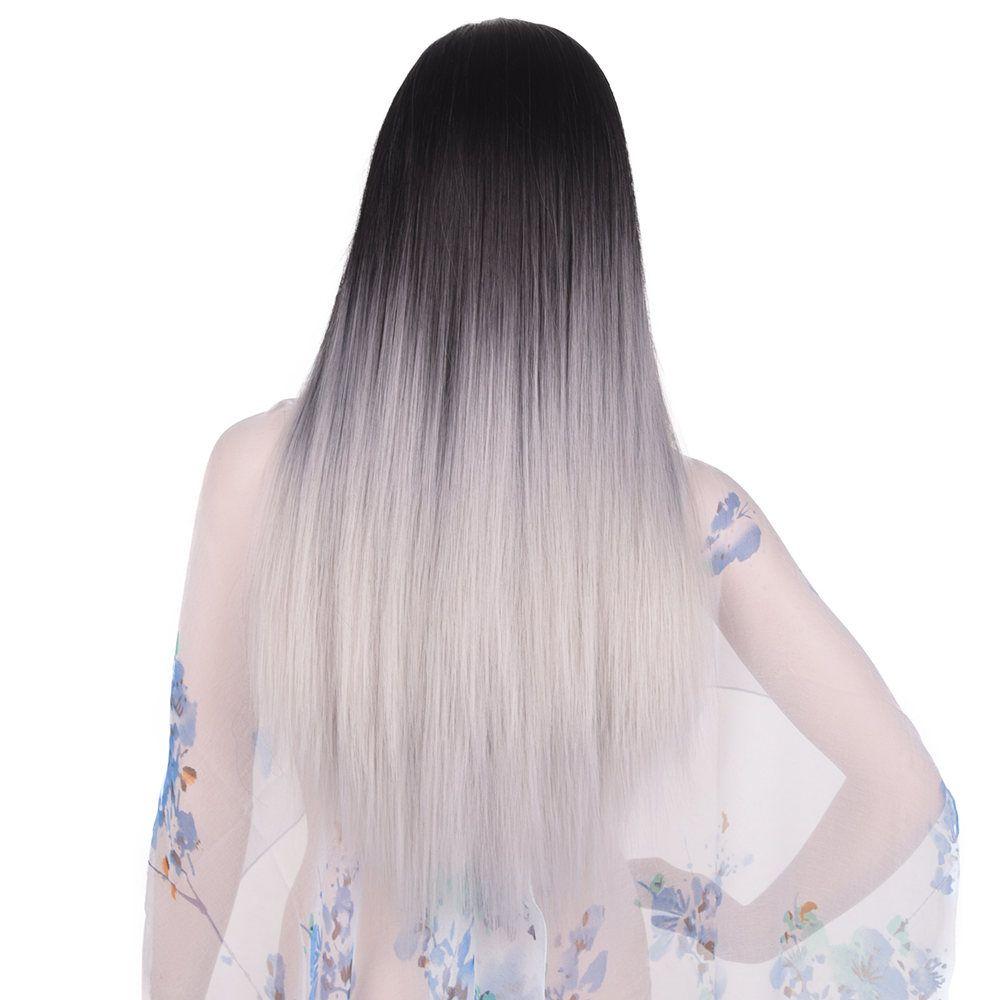Feilimei Ombre Gris Perruque Synthétique 24 Pouce 280g Longue Ligne Droite cheveux Plein la Tête Noir Bleu Violet Gris Brun Couleur Cosplay perruques
