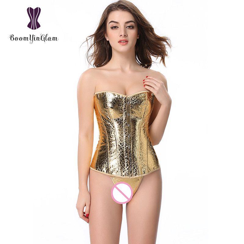 845# Free shipping Elegant Women Waist Corset body shaper Waist Slimming golden sequin overbust corsets