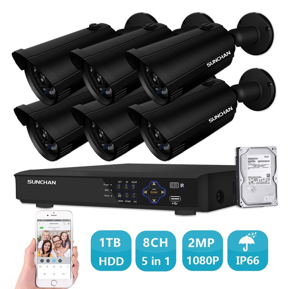 SUNCHAN 8CH HD 1080P Security Camera System 2MP Weatherproof Outdoor Bullet Camera CCTV DVR Kit Recorder Home Video System 1TB