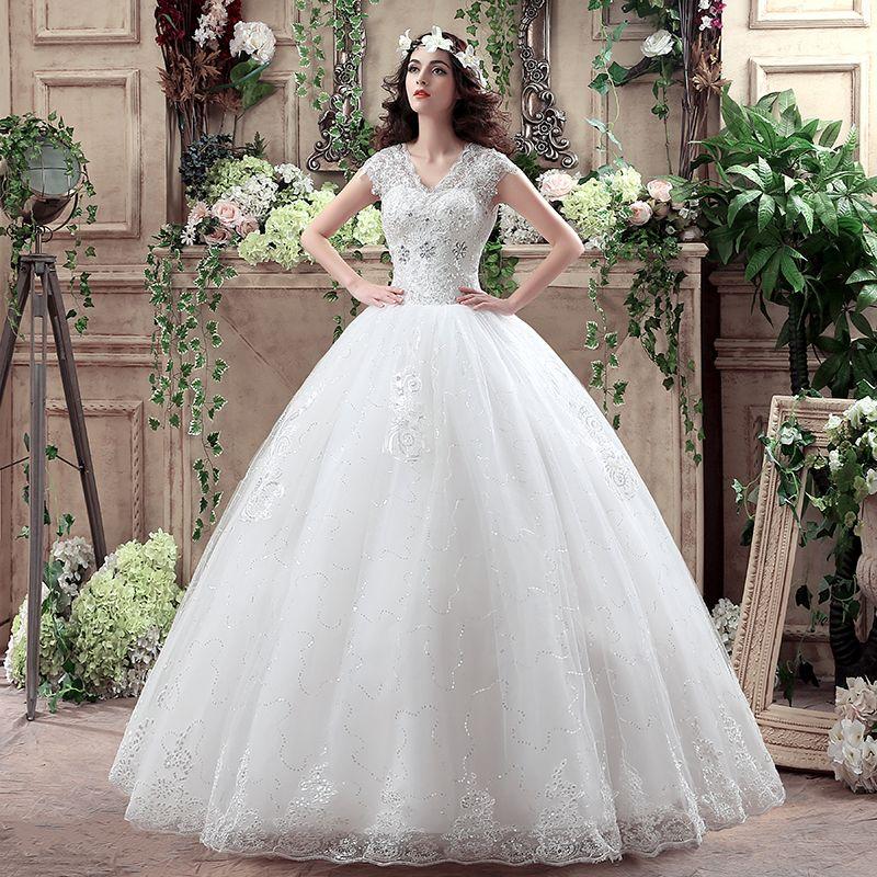 Luxury Princess Ball gown V-neck Lace plus size Wedding gowns Wedding Dresses 2017 vestidos de noiva robe de mariage