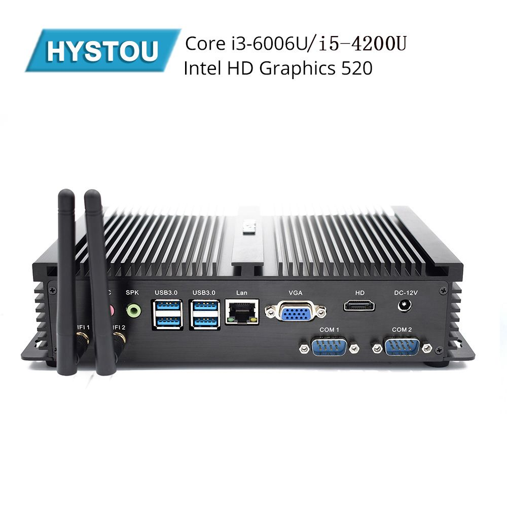 Hystou Fanless Mini PC i3 6006U i5 4200U Industrielle Computer 2 COM HDMI VGA Dual Display 300 M Wifi 4 K HD HTPC mini tv für linux