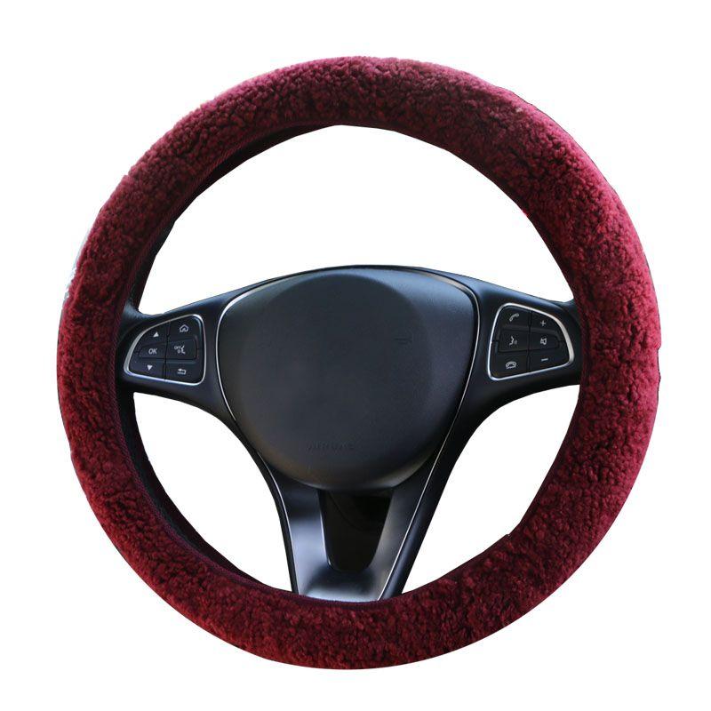 Winter Australian SheepSkin Wool Steering Wheel Cover/Cahsmere handlebar braid on the steering-wheel with Anti-skid base fabric