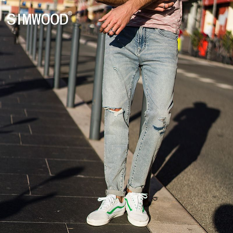SIMWOOD 2018 Autumn New Hole Jeans Men Fashion Ripped Denim Trousers Patchwork Slim Fit Brand Clothing Plus Size 180075