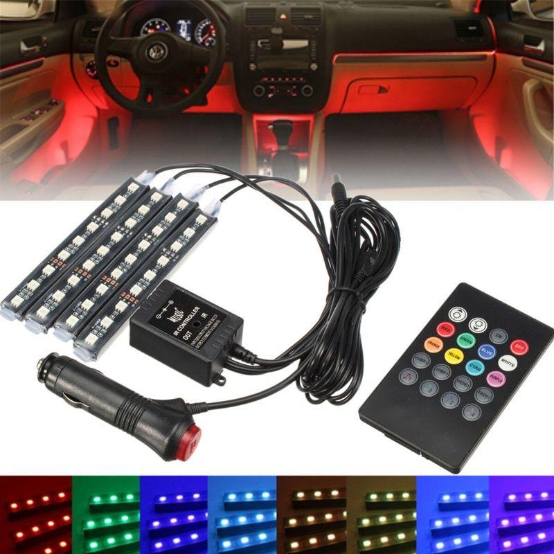 Горячая rgb 4x36 светодиодных автомобилей зарядки 12 В 10 Вт Glow Декоративные 4in1 Атмосфера синий внутри ног свет лампы с Дистанционное управление