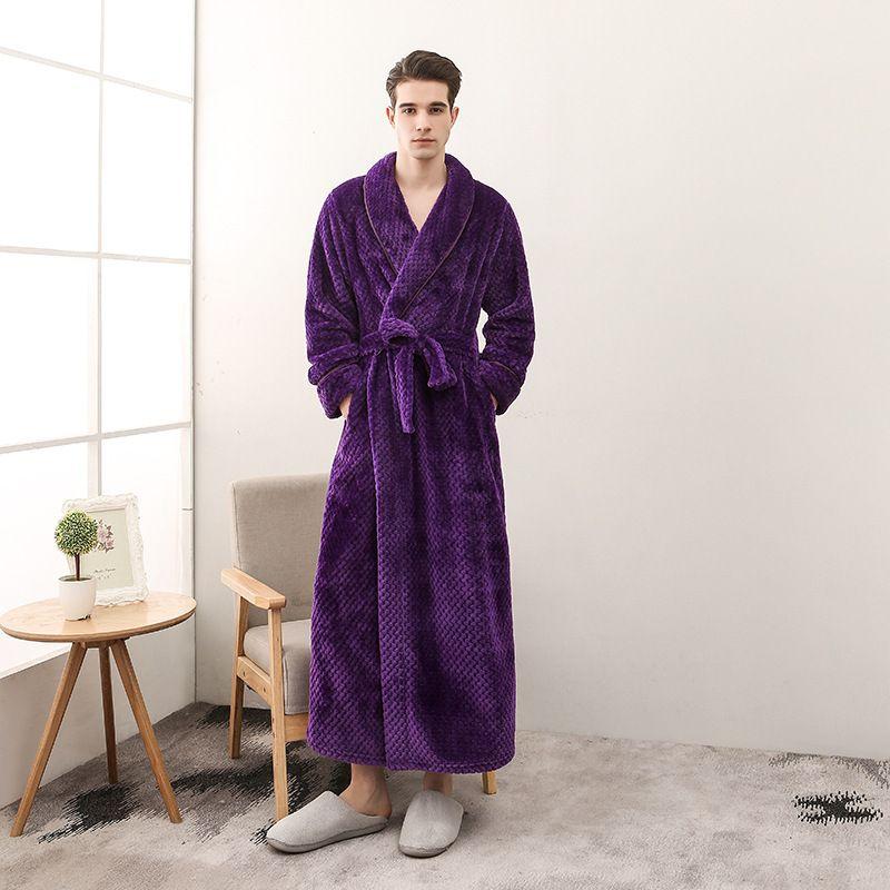 Lovers Bathrobe Men Women Long Winter thickening Kimono Bath Robe Male Dressing Gown Female Flannel Robes Plus Size 3XL