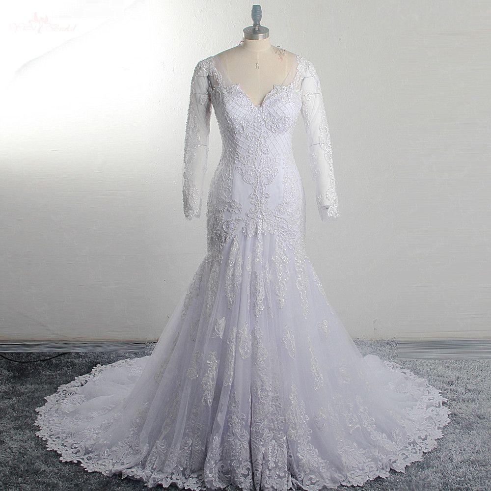 RSW1518 Perlen Gitter Appliques Lace Up Zurück Lange Hülse Spitze Meerjungfrau V-ausschnitt Hochzeit Kleid
