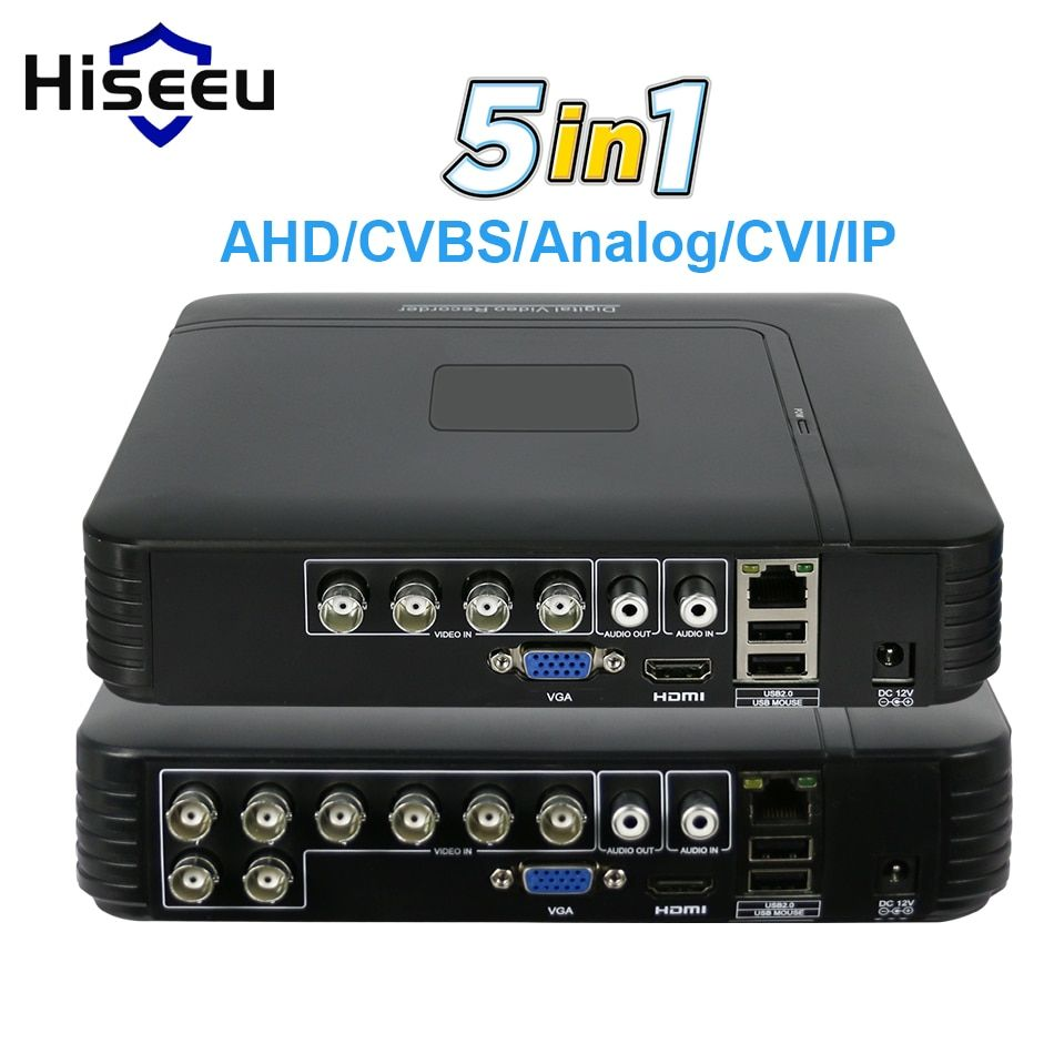 5 in 1 CCTV Mini DVR TVI CVI AHD CVBS IP Camera Digital Video Recorder  4CH 8CH AHD DVR NVR CCTV System P2P Security Hiseeu