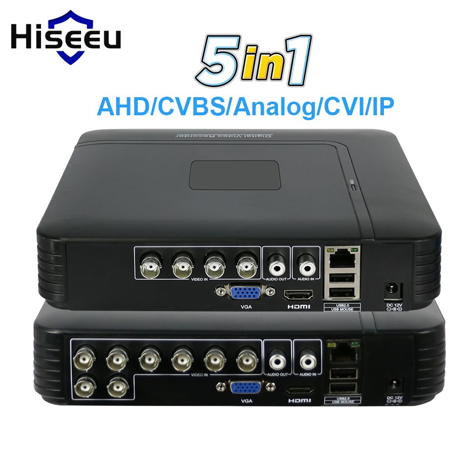 5 in 1 CCTV Mini DVR TVI CVI AHD CVBS IP Camera Digital Video Recorder 4CH 8CH AHD DVR NVR CCTV System P2P Security <font><b>Hiseeu</b></font>
