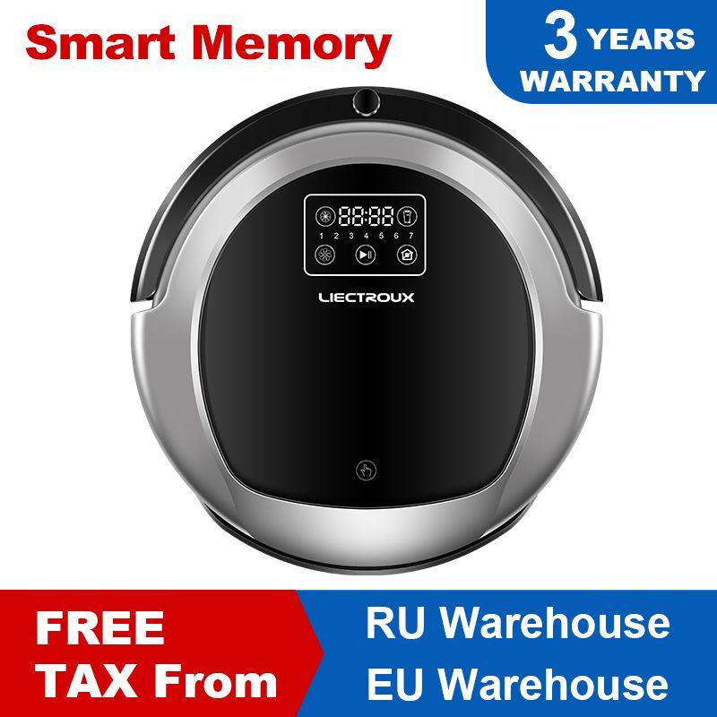 LIECTROUX B6009 Robotique aspirateur, Carte de Navigation, Smart Mémoire, Faible Répétition, Virtuel Bloqueur, lampe uv, réservoir d'eau, Faible bruit