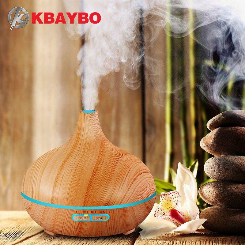 KBAYBO 300 ml Arôme Humidificateur D'air bois grain avec LED lumières Huile Essentielle Diffuseur Aromathérapie Électrique Mist Maker pour La Maison