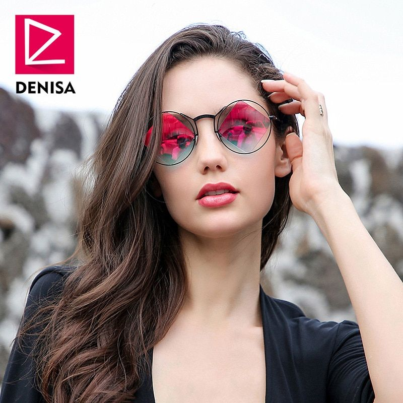 DENISA rétro rond lunettes de soleil femmes hommes mode Steampunk Vintage losange lunettes de soleil filles UV400 lunette de soleil femme G18034