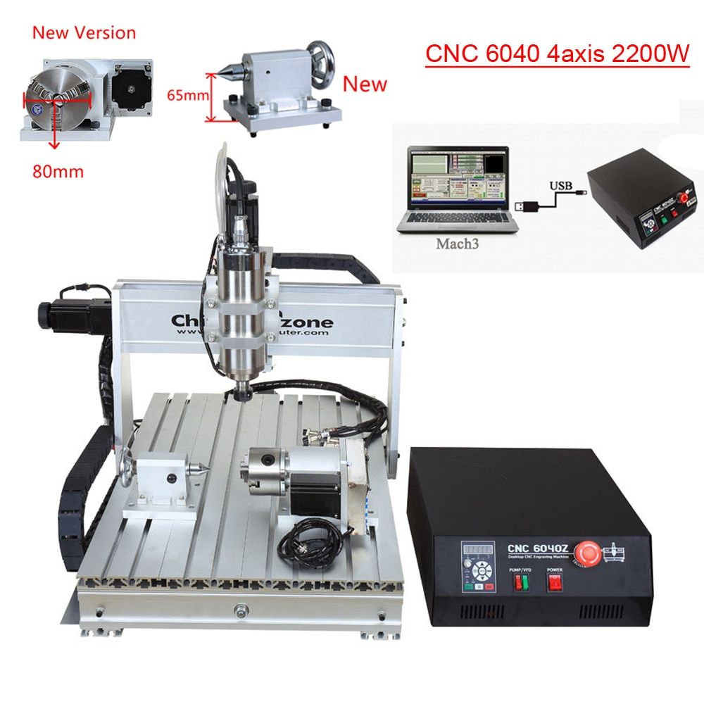 CNC 6040 2.2KW 4 axis CNC router CNC wood carving machine USB Mach3 control Woodworking Milling Engraver Machine with Cooling