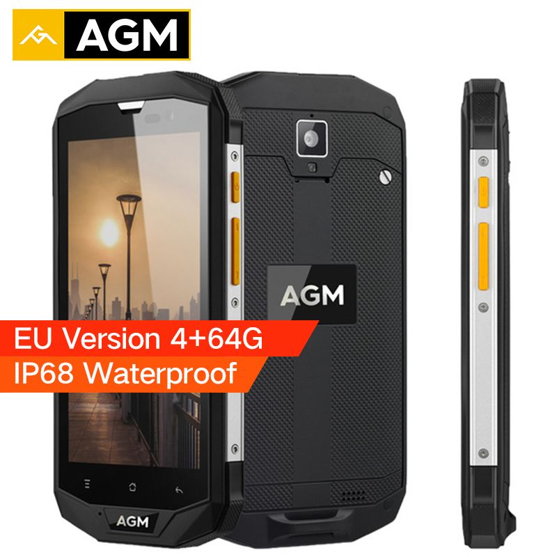 AGM A8 EU Version IP68 Waterproof Phone 5.0 inch Snapdragon MSM8916 Quad Core 4GB RAM 64GB ROM 4050mAh 13MP OTG 4G Smartphone