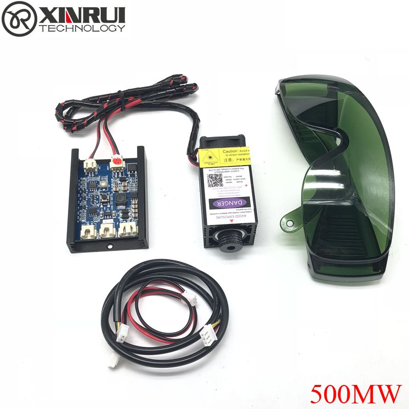 500mw 405NM focusing blue purple laser module engraving,with TTL control laser tube diode+ goggles