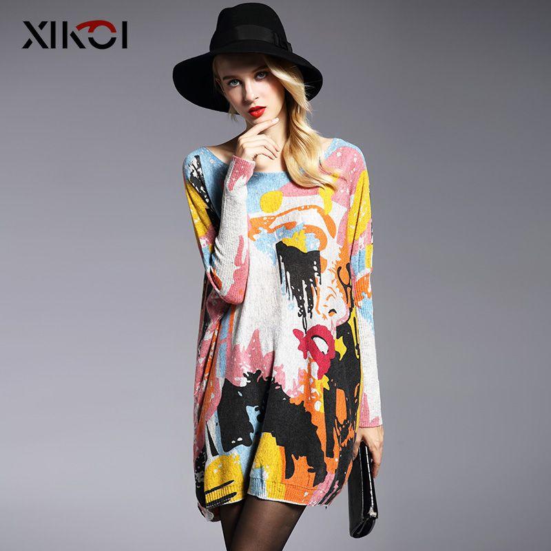 Xikoi негабаритных модный свитер с рукавами «летучая мышь» печати слэш Средства ухода за кожей Шеи Для женщин Свитеры для женщин Пуловеры для ...