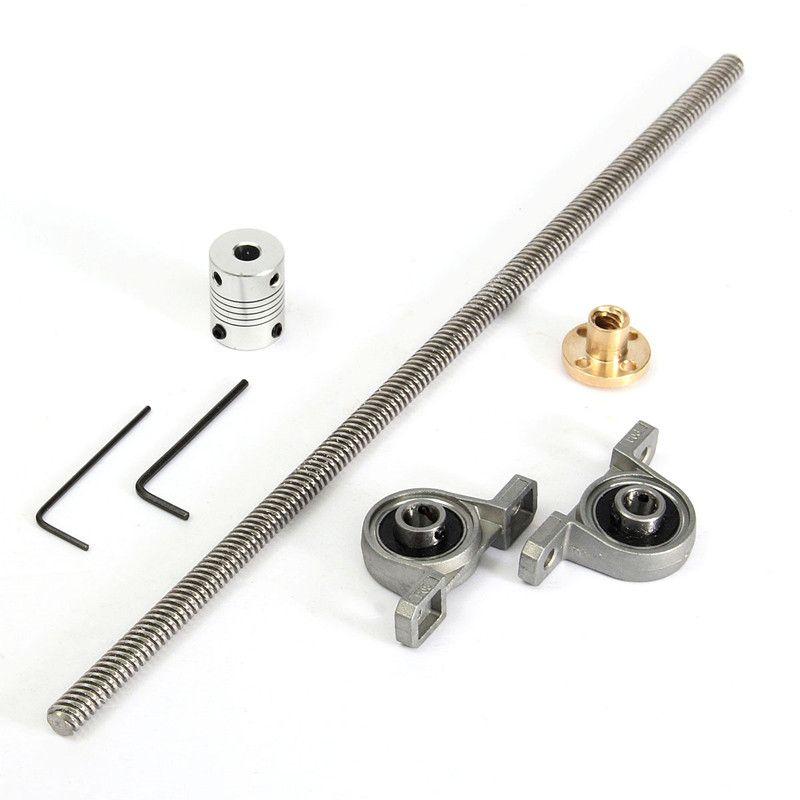 3D imprimante Ensemble Acier Inoxydable T8 Plomb vis 300mm 8mm + en laiton écrou de cuivre + roulement Support + aluminium Accouplement Flexible