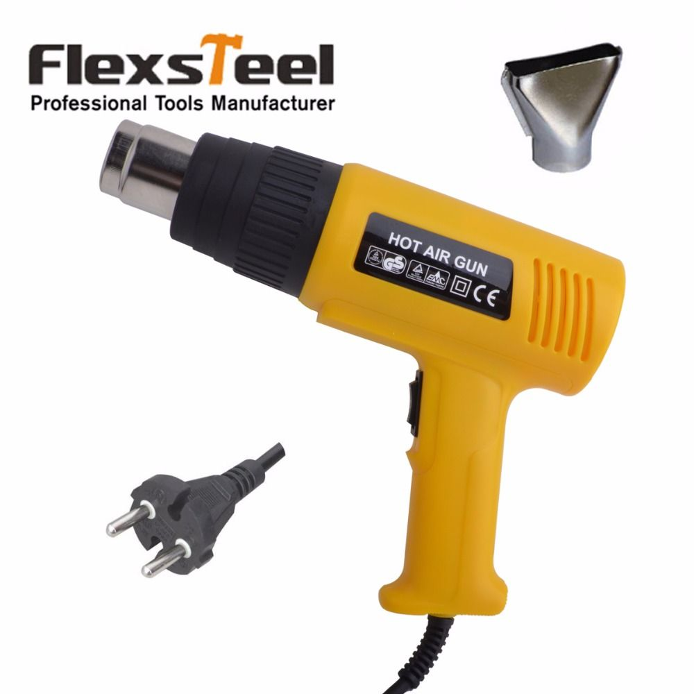 Flexsteel CE/GS Certified High Quality Electric 220V 2000W 50HZ Adjustable Dual Temperature Hot Air Gun Heat Gun With 1pc Nozzle