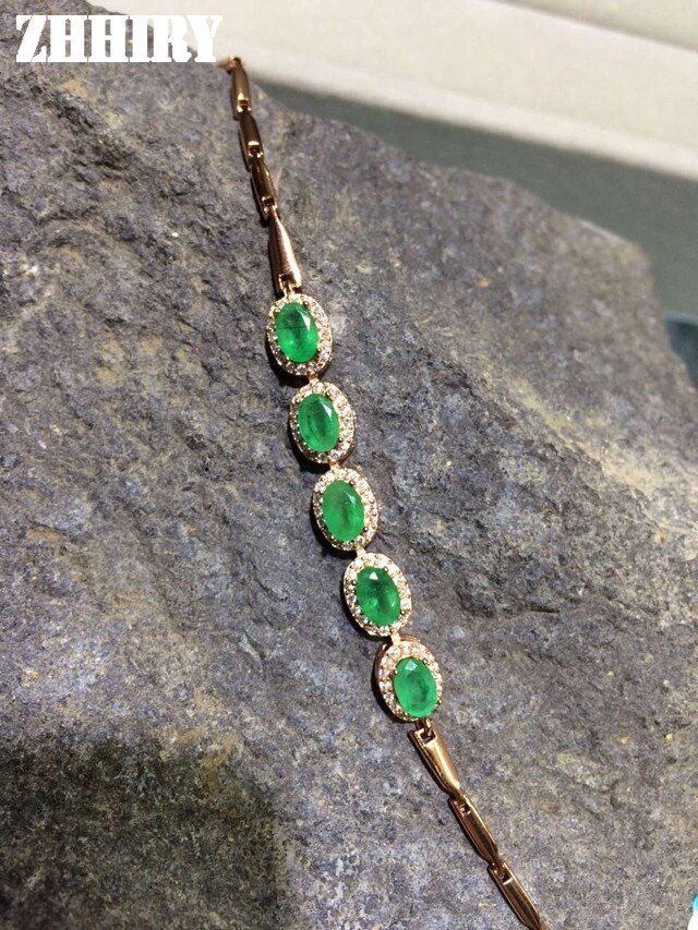 ZHHIRY Natural Emerald Gem Bracelet Genuine Solid 925 Sterling Silver Precious Green Stone Women Prom Real Fine Jewelry
