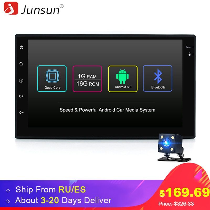 Junsun Universal 2 din Android 6.0 Car DVD player GPS+Wifi+Bluetooth+Radio+Quad Core 7 inch 1024*600 screen car stereo radio