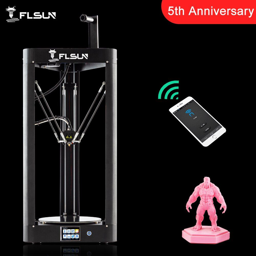 2019 NEW 3D Printer Flsun QQ-S Kossel Auto Level Sensor Lattice HeatBed Pre-assembly Titan Touch Wifi 32bits boad High speed