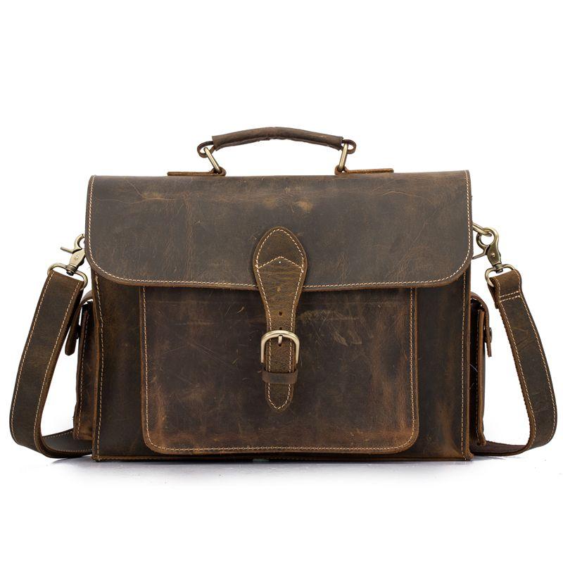NEWEEKEND Echtes Leder Crazy Horse 15 Zoll Rindsleder Umhängetasche Aktentaschen Handtasche Laptop iPad Tasche Männlichen Männer Portfolio Tote 2058