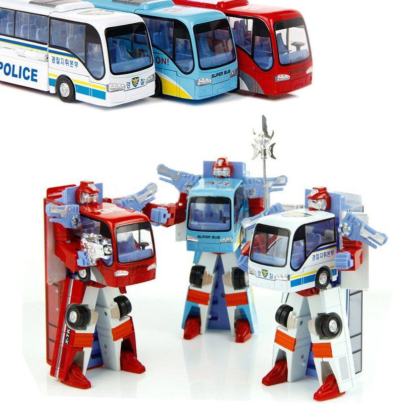 3 Styles Robot Transformation Bus Voiture Jouets Alliage Déformation de Robot de La Police Bus Jouets Pour Enfants enfants 3 couleur # E