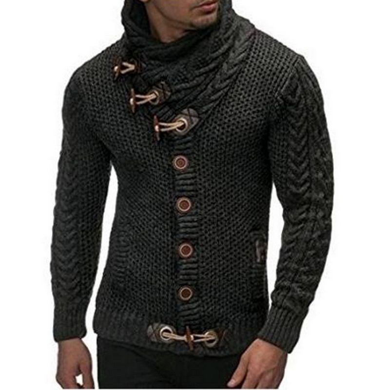 Laamei Autumn Winter 2018 Fashion Casual Cardigan Sweater Coat Mens Slim Fit Button Warm Knitting Clothes Sweater Coats Men