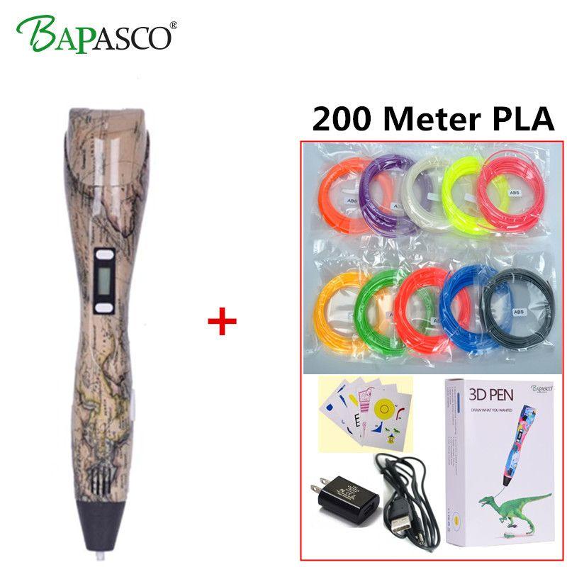 3D Pen 3D Printer Pen With 100 Meters 20 Color PLA Filament Magic Pen Maker Arts LIX for Student Gift 3D Printing Drawing Pen