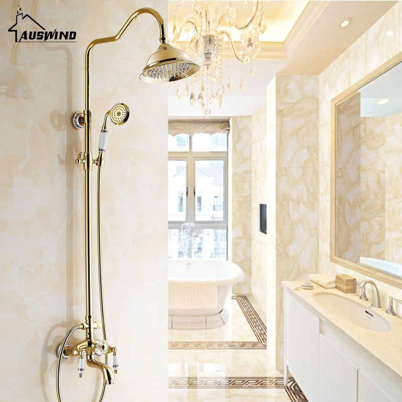 Antique Rose Gold Plated Shower Gold Shower Set Brass Faucet With Black And White Pattern Decoration Porcelain Shower