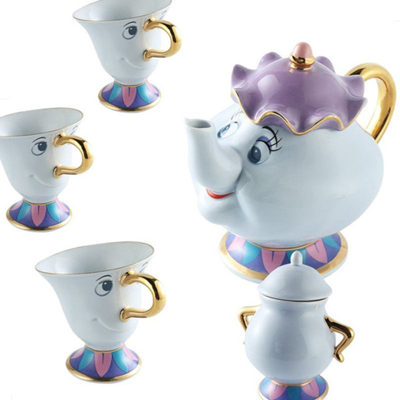 Cartoon Beauty And The Beast Tea Set Potts Chip Pot Cup Coffee Cup Cute Christmas Birthday Gift [1 cans + 3 cups + 1 sugar bowl]