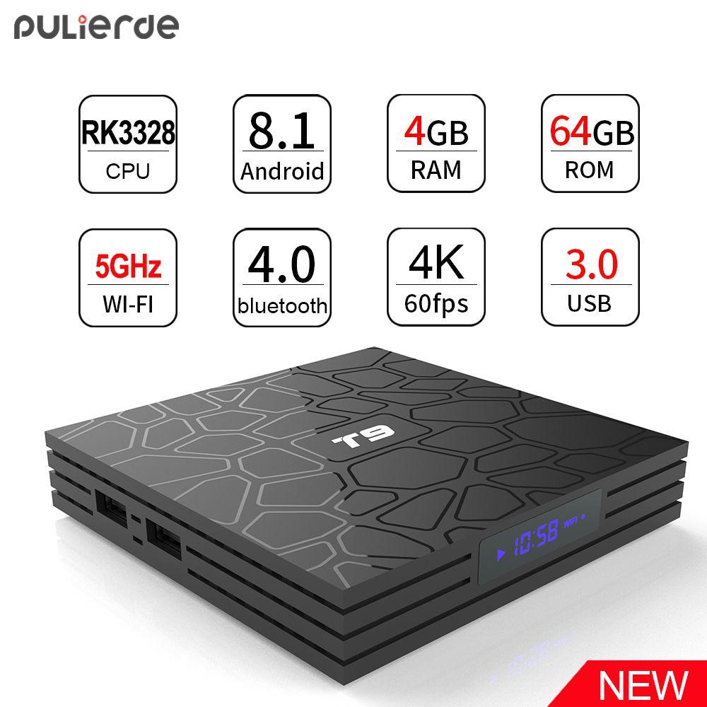 PULIERDE T9 4 GB 64 GB RK3328 Quad Core Intelligent Android 8.1 TV BOX Bluetooth4.0 H2.65 4 K 2.4 GHz /5 GHz WIFI Set-top box lecteur multimédia