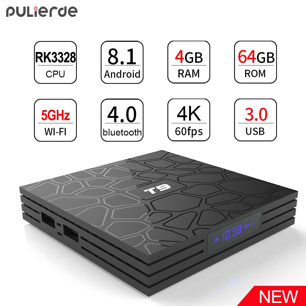 PULIERDE T9 4GB 64GB RK3328 Quad Core Smart Android 8.1 TV BOX Bluetooth4.0 H2.65 4K 2.4GHz/5GHz WIFI Set-top box Media Player
