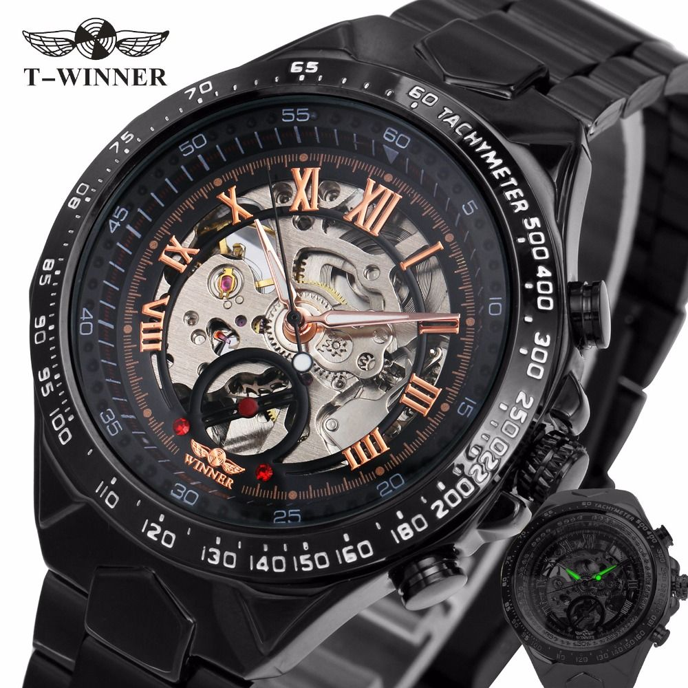 2018 Black Rose Gold WINNER Men Watch Cool Mechanical Automatic Wristwatch Stainless Steel Band Male Clock Skeleton Roman Dial