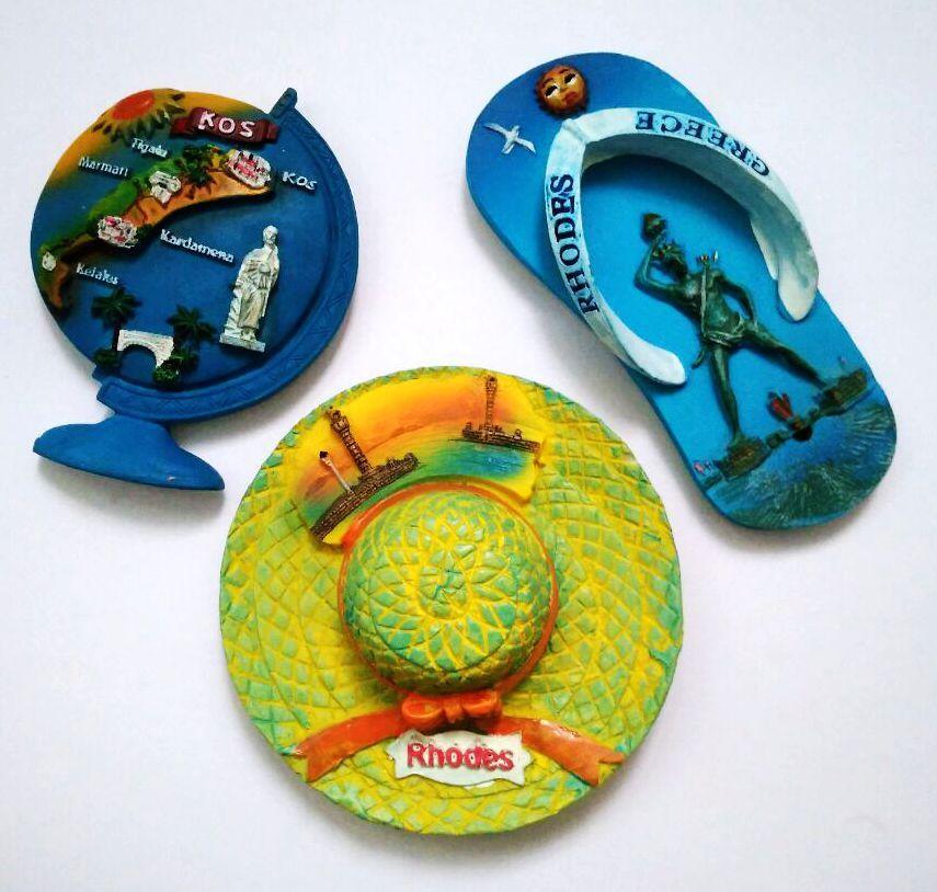 Rhodes paysage chapeau 3D réfrigérateur aimants grèce tourisme Souvenirs réfrigérateur magnétique autocollant Collection décoration de la maison