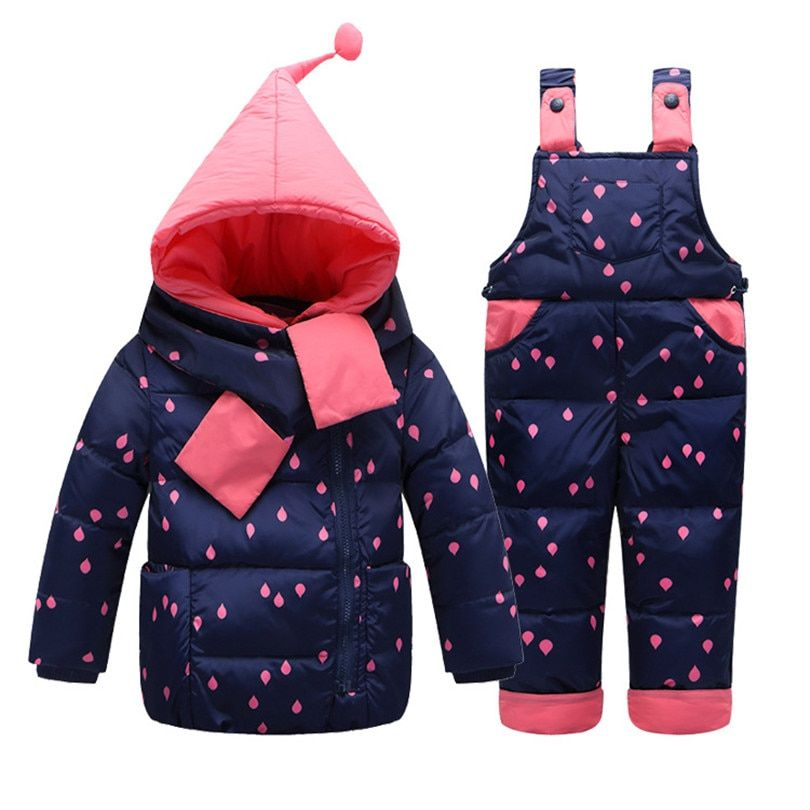 2018 New Winter Warm Baby Infant Down jacket Clothes Set Kids Hooded Jacket With Scarf Children Boys Girls Coat pattern Suit Set