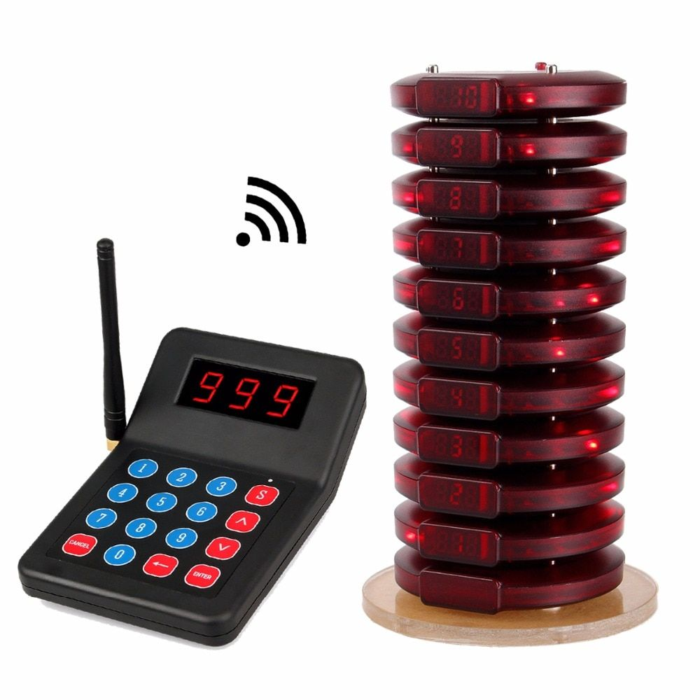 Restaurant Pager Wireless Paging Queuing System Guest Table Calling 999 Channel Coaster Pagers For Fast Food Cafe Shop F3354A