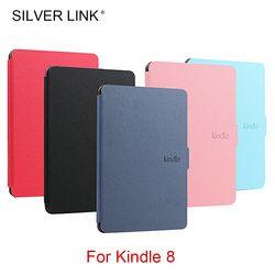 Plata enlace Kindle 8 e-reader caso PU Faux cuero para Kindle 8th Ebook de la generación Multicolor piel dura shell Auto sueño/W