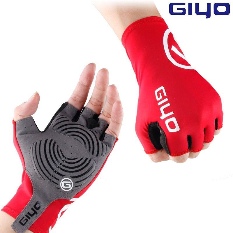 Giyo brise vent cyclisme demi doigt gants anti-dérapant vélo Lycra tissu moufles gants de VTT course vélo de route gant