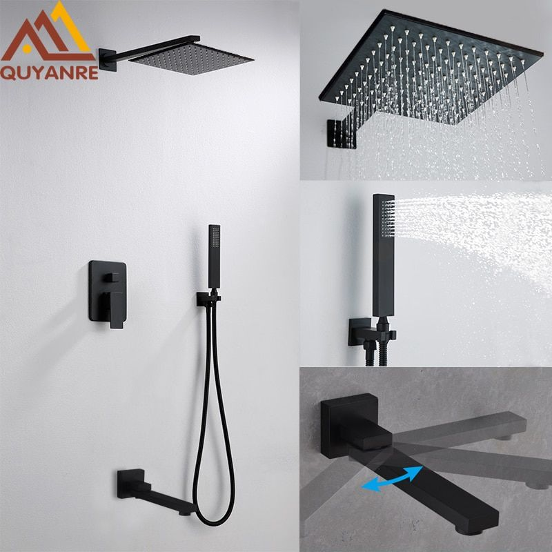 Quyanre Black ORB Shower Faucets Set Rainfall Shower Head Swivel Tub Spout 3-way Single Handle Mixer Tap Bathroom Shower Faucet