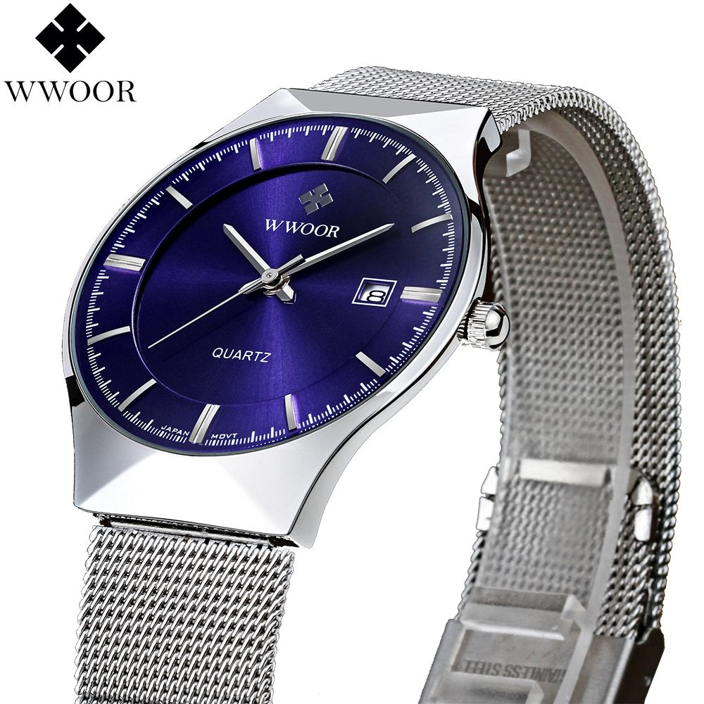 New Fashion top luxury brand WWOOR watches men quartz-watch stainless steel mesh strap ultra <font><b>thin</b></font> dial clock relogio masculino