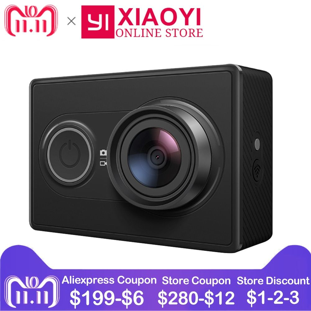[International Edition]Original Xiaomi YI Action Camera Xiaoyi <font><b>1080P</b></font> Sports Camera WiFi 3D Noise Reduction 16MP 60FPS Ambarella